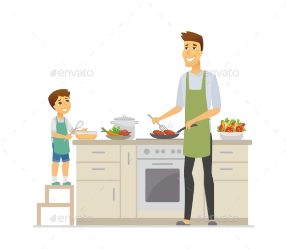 Father and Son Cooking - Cartoon People Characters