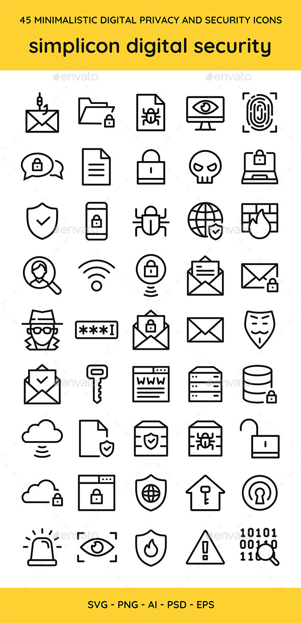 45 Digital Privacy & Security Vector Icons