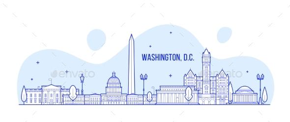 Washington D. C. Skyline USA City Building Vector