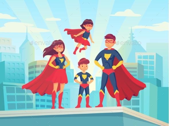 Cartoon Superhero Family