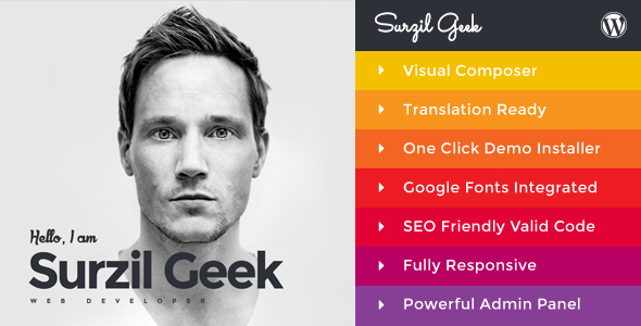 Geek - Personal Resume & Portfolio WordPress Theme