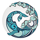 Whale with Water Round Decorative Element - GraphicRiver Item for Sale