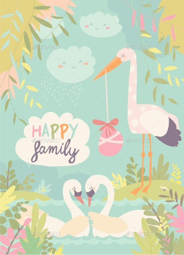 Cartoon Swans in Love and Stork with Baby