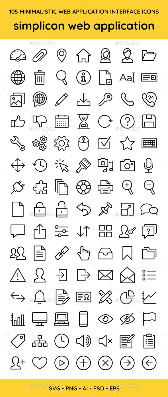 105 UI Web Application Icons