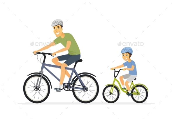 Father and Son Cycling - Cartoon People Characters