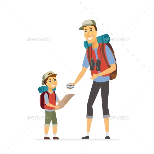 Father and Son Go Camping - Cartoon People