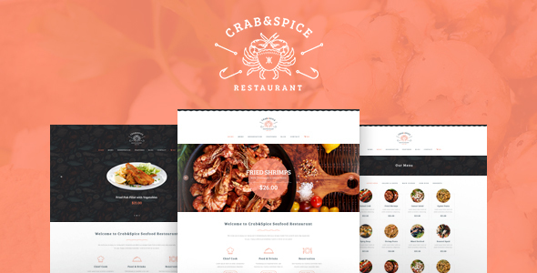Crab & Spice | Restaurant and Cafe Food WordPress Theme