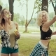 Happy Hipster Girls with Sunglasses Having Fun Making Bubbles in Park - VideoHive Item for Sale
