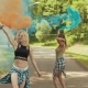 Beautiful Hipster Girls in Beautiful Clothes Runs in Park Waving Colored Smoke - VideoHive Item for Sale