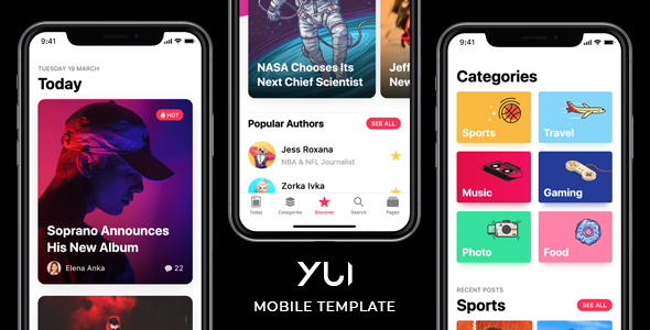 Yui - News & Magazine Mobile Template
