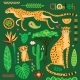 Wild Exotic Cats and Tropical Plants - GraphicRiver Item for Sale