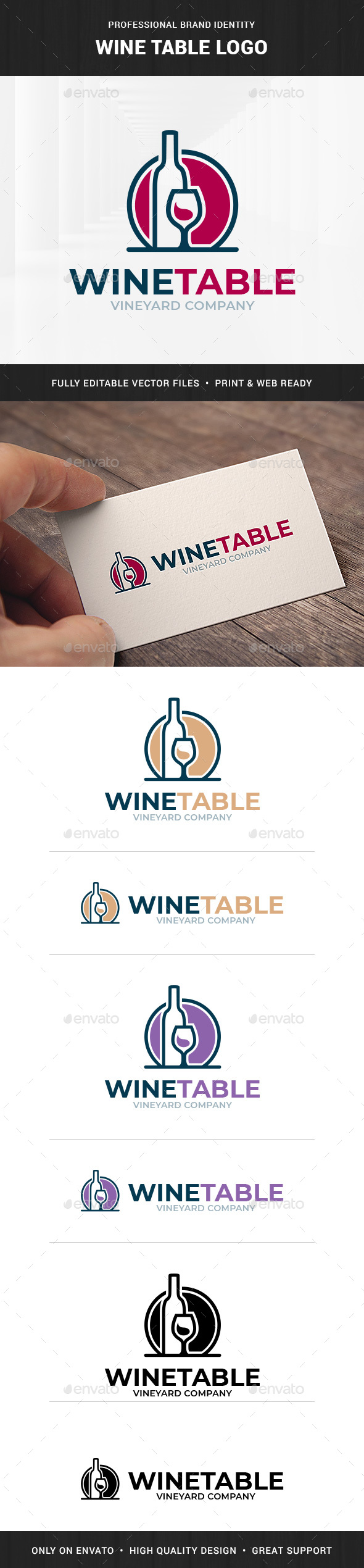 Wine Table Logo Template