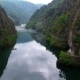 Aerial Matka Canyon in Macedonia Near Skopje, Boat on the Lake - VideoHive Item for Sale