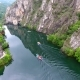 Aerial Matka Canyon in Macedonia Near Skopje, Boat on the Lake. Visit the Beautiful Place - VideoHive Item for Sale