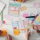 UX Designers Putting Post It Notes on App Layout - VideoHive Item for Sale