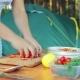 The Woman Puts the Pieces of Red Pepper Into a Bowl for a Salad on a Picnic - VideoHive Item for Sale