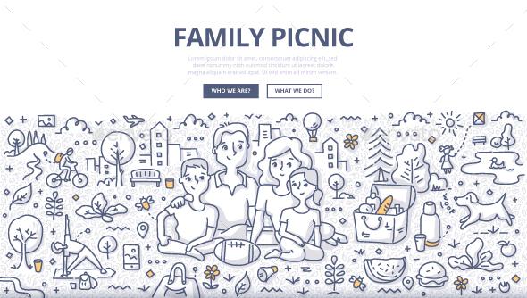 Family Picnic Doodle Concept