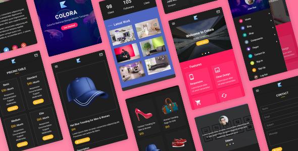 Colora - Colorful Material Design Mobile Template