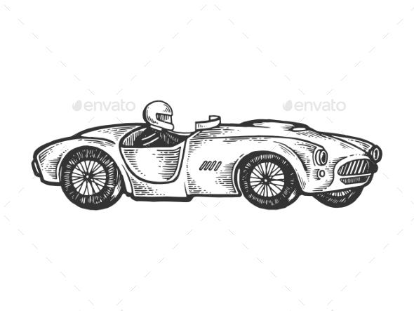 Old Sport Race Car Engraving Vector Illustration