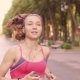Beautiful Young Model Girl Training Runs in the Park - VideoHive Item for Sale