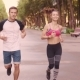 Beautiful Young Girl and Men Training Runs in the Park - VideoHive Item for Sale
