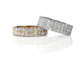 Cluster stack of diamond wedding engagment rings set pair - PhotoDune Item for Sale