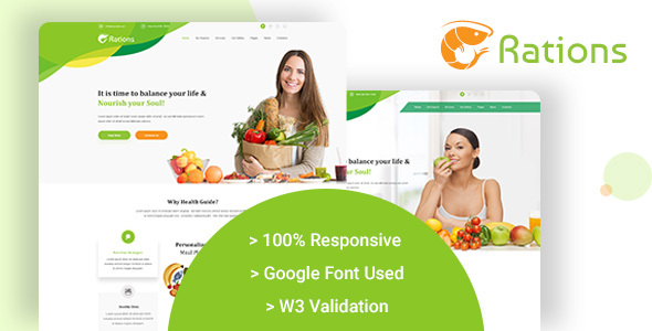Ration - Diet & Nutrition Website Templates