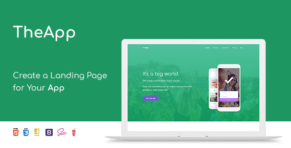 TheApp - Responsive Bootstrap Mobile App Landing Page Template