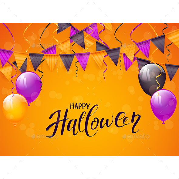 Happy Halloween with Balloons and Pennants
