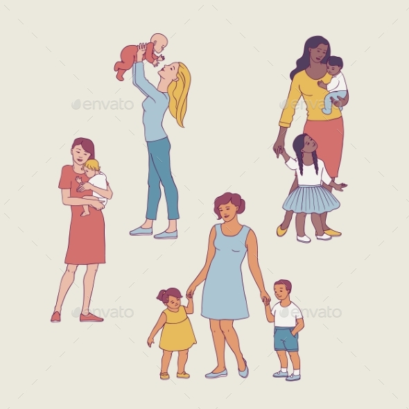 Vector Mothers with Kids
