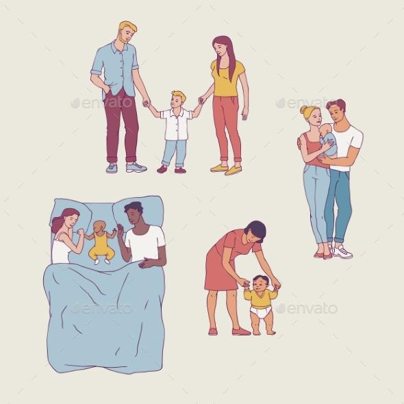 Vector Flat Adult Couple Daughter Kid Hugging Set