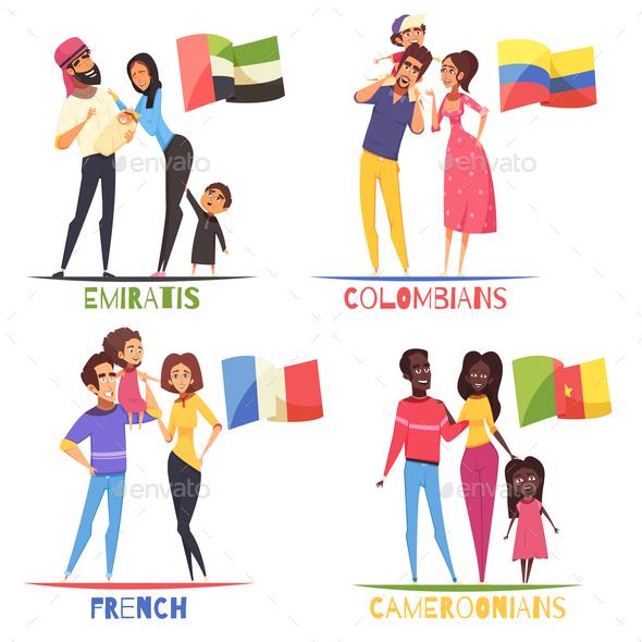 Families Nationalities Design Concept