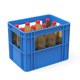 Plastic crate with bottles