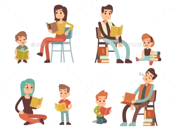 Cartoon Character Adults and Kids Reading Books