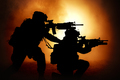 Two attacking soldiers surrounded flame and smoke - PhotoDune Item for Sale