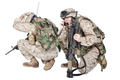 Soldier talking on radio under fire studio shoot - PhotoDune Item for Sale