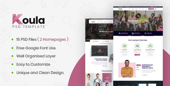 Koula - An Online School and Course PSD Template