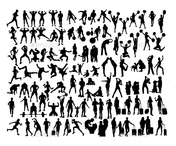 100 More Daily Activity Silhouettes People