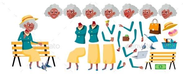 Old Woman Vector. Senior Person Portrait. Black