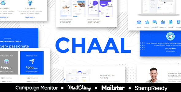 Chaal – Business Email Set – 100+ Modules StampReady Builder + Mailster & Mailchimp Editor