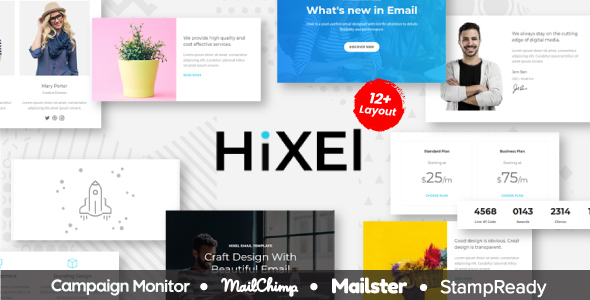 Hixel – Responsive Email Template for Agency 70+ Modules – StampReady Builder + Mailster & Mailchimp