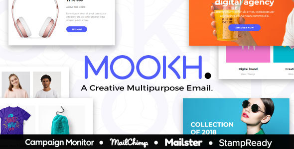 Mookh – Creative Multipurpose Email for Agency – StampReady Builder + Mailster & Mailchimp Editor