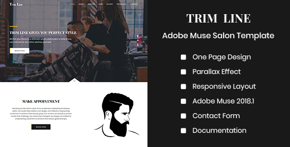 TRIM LINE - Adobe Muse Salon Template