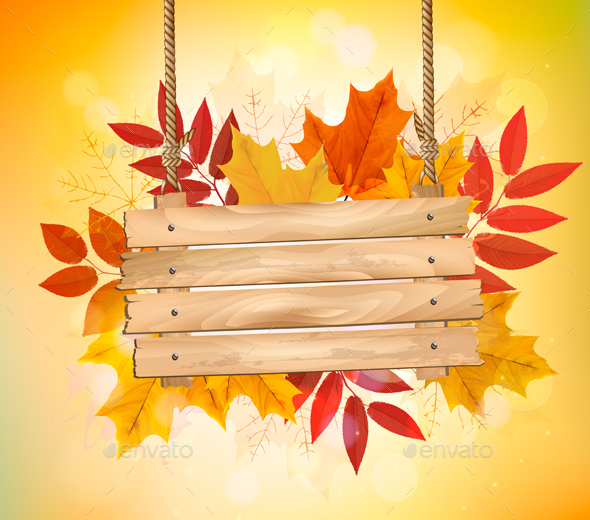 Autumn Background with Leaves and Wooden Board