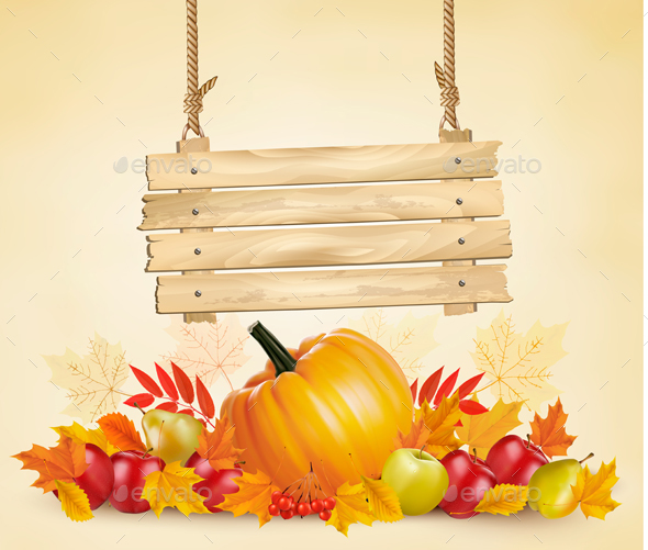 Autumn Background with Vegetables and Wooden Sign