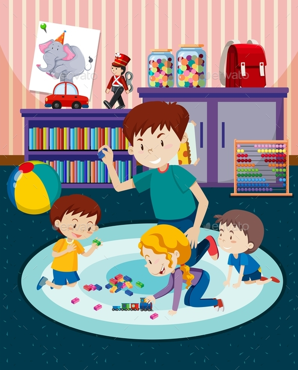 Father and Children Playing With Toys