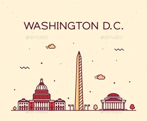 Washington D. C. USA Vector Linear Art Style City