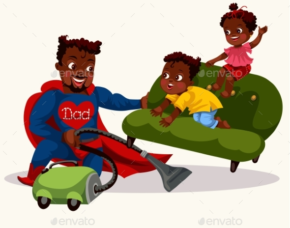 Daddy Is Superhero Colorful Poster