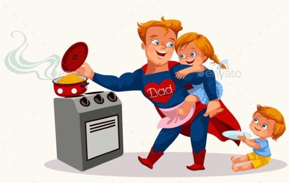 Superhero Dad Colorful Poster