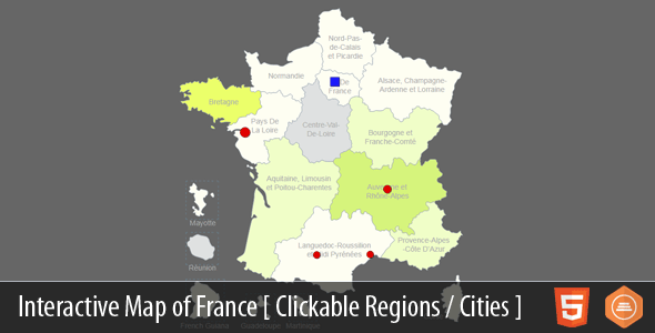 Interactive Map of France - HTML5